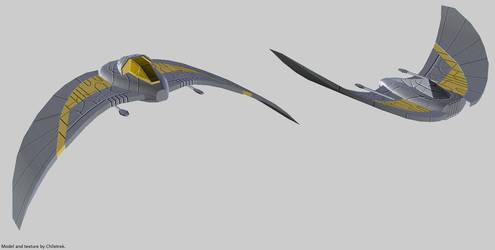 Goa'uld Fighter Death Glider render by Chiletrek