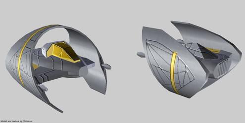 Goa'uld Fighter Needle Threader render by Chiletrek