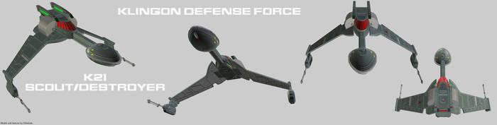 Klingon Defense Force K21 Scout (Flight) by Chiletrek
