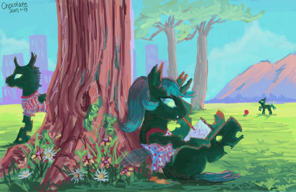 Griffonner sous l'arbre by ChocolateSun