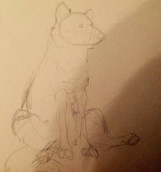 YCH: sitting canine - Open