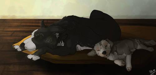 Commission: Sleepy puppies