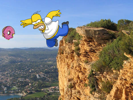 Homer falling of cliff