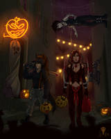 Trick or treating with friends