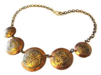 Celtic copper and brass triskele necklace by JLHilton