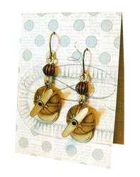Brass propeller beanie earrings by JLHilton