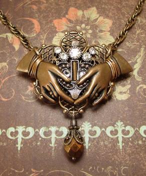 Steampunk Claddagh Pendant