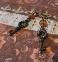 Medieval Quatrefoil Key Earrings by JLHilton