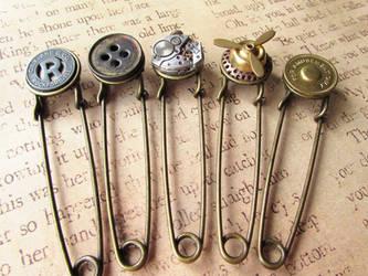 Steampunk scarf pins by JLHilton