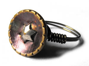 Antique button wire ring