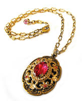Pink jewel pendant by JLHilton