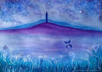 Merlin - The Lake of Avalon in mysterious fog by AnastasiyaKosenko