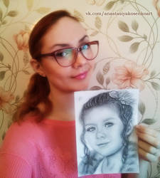 Me with portrait commission of Liza