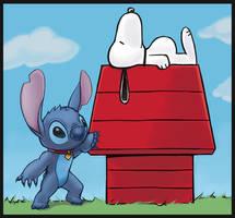 Stitch and Snoopy by hybridmink