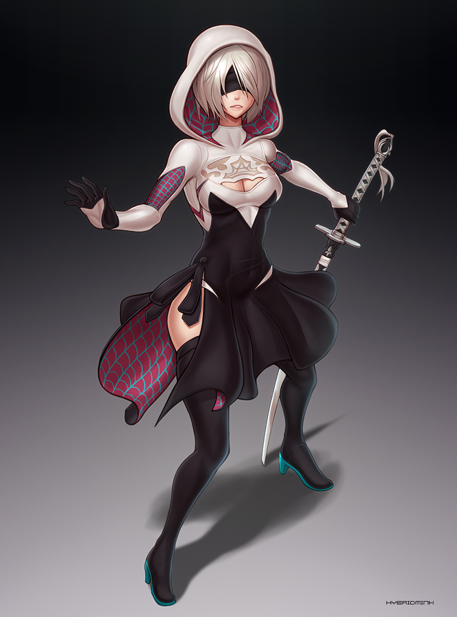2B (Spider-Gwen outfit) by hybridmink