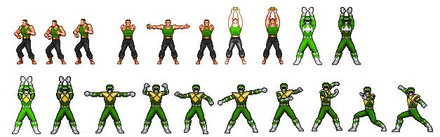 MMPR-Green Ranger Custom Morph Sprite Sheet by supaman2525