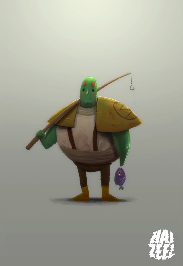 Green guy with a fish by Haizeel