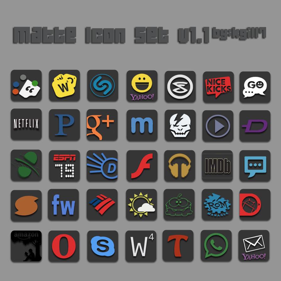 Matte Icon Set v1.1 by kgill77