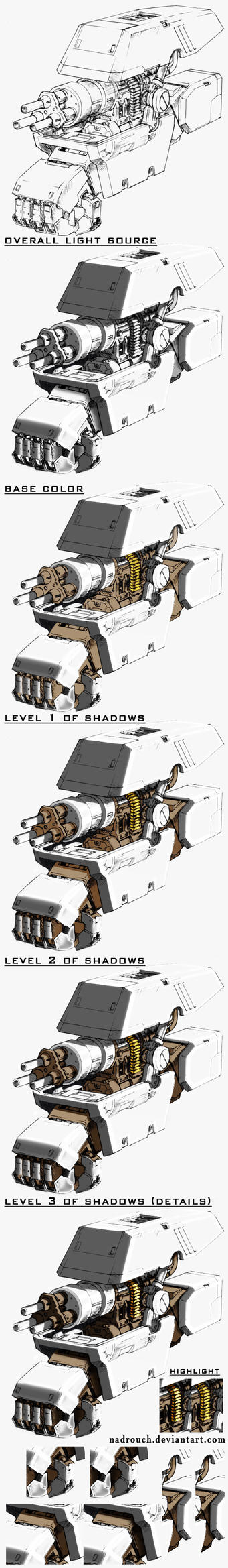 Robotic hand lineart drawing shadows #PART5 by nadrouch