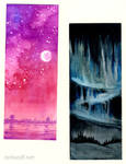 two watercolour test bookmarks