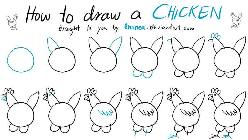 how to draw chicken little easy