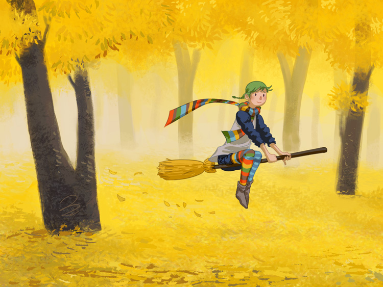Micki dashing through a golden Forest by enonea