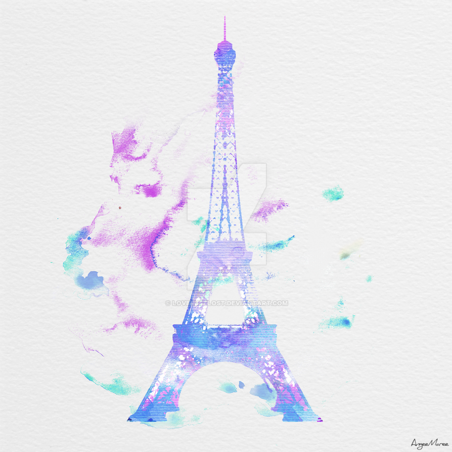 eiffel tower watercolor v2 by lovelustlost on deviantart
