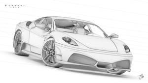 Ferrari F430 Render Wireframe by JasonMartin3D