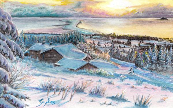 Winter sunset at the lake by shongrek