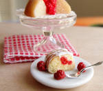 Dollhouse Miniature Raspberry Bundt Cake Slice
