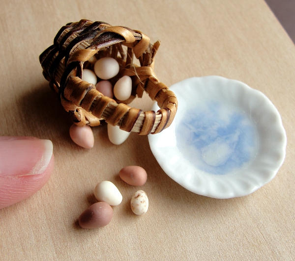Dollhouse Miniature Egg Basket by fairchildart