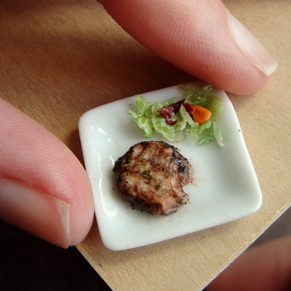 1:12 Scale Pork Chop and Salad by fairchildart