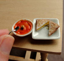 1:12 Scale Grilled Cheese and Tomato Soup by fairchildart