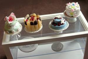 Dollhouse Miniature Cake Display by fairchildart