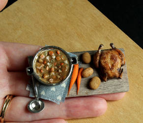 1:12 Scale Vegetable Stew and Rotisserie Chicken