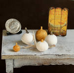 1:12 Scale White and Gold Pumpkins