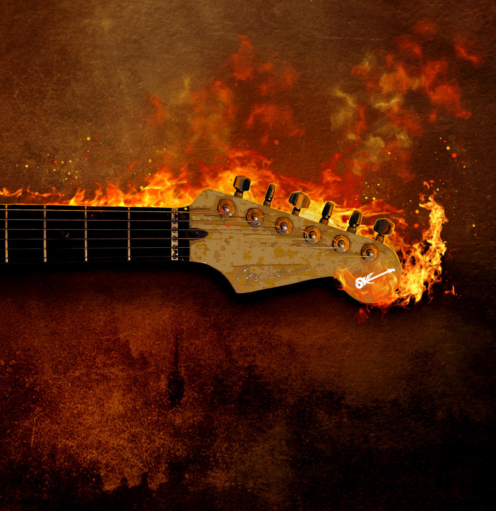 Flaming Guitar by kimsol