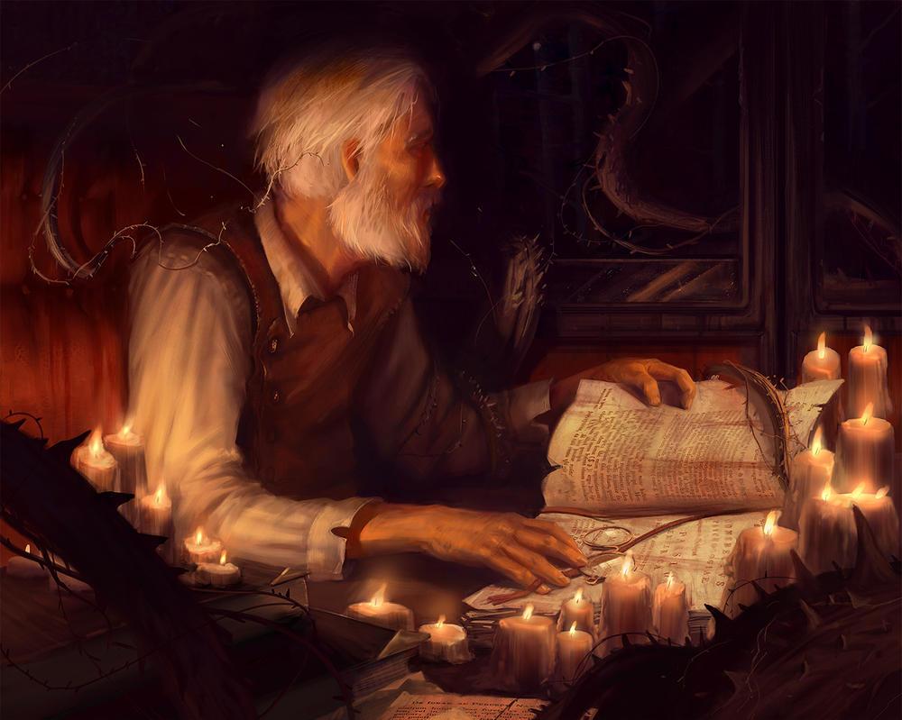 Study by candlelight by Grobelski