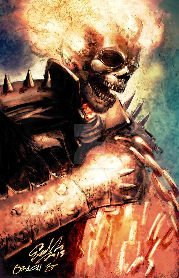 Ghost Rider Colored Print by ErollSeeinDA
