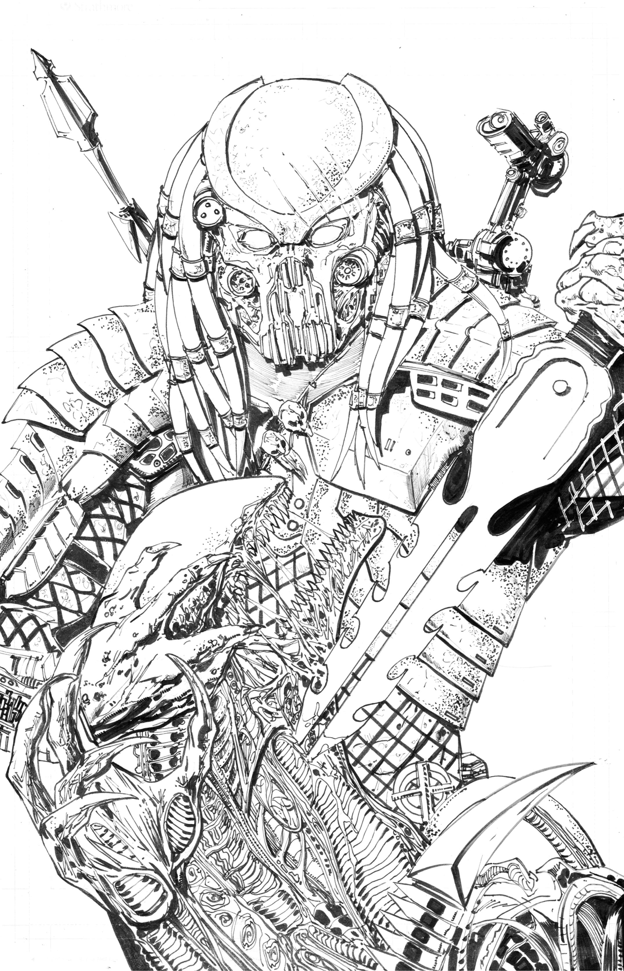 Line Art Vs No Line Art : Predator celtic vs alien by erollseeinda on deviantart