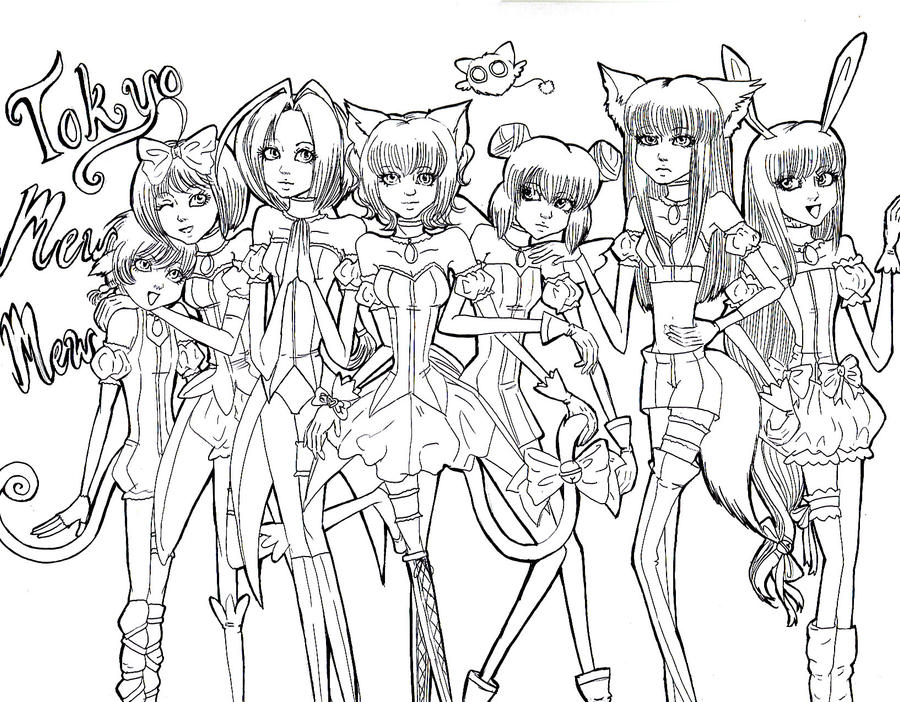 Mew mew seven lineart by ryoushirogane on deviantart for Mew coloring pages