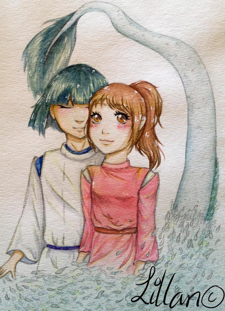 Spirited away with chihiro and haku by NestOfDreams