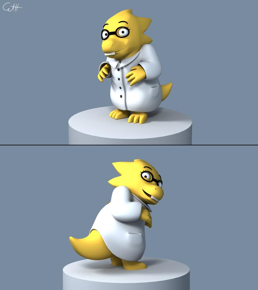 Dr alphys 3d model by skunkdude13 on deviantart for Deviantart 3d models