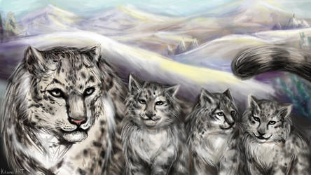 Snow leopards by KituneART