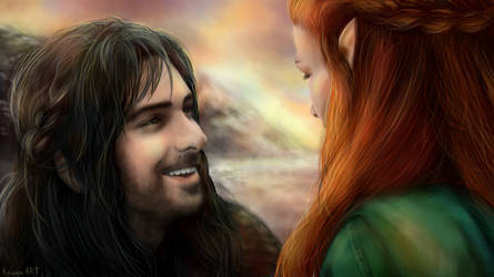 Kili and Tauriel by KituneART