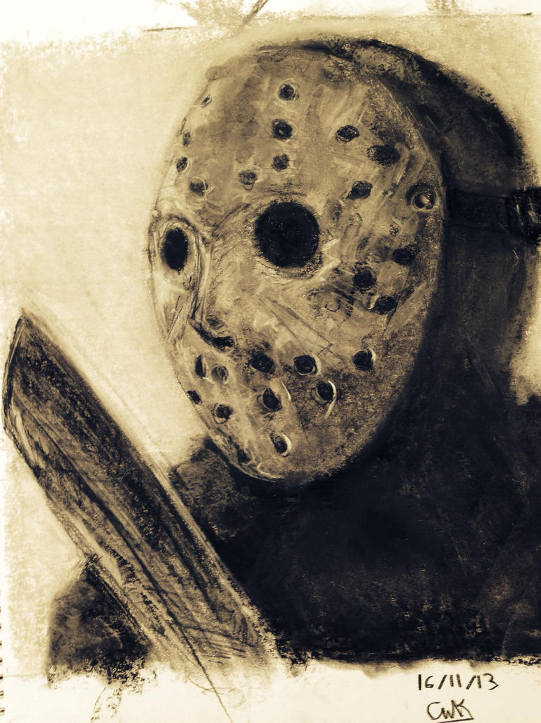 Jason voorhees ( charcoal and chalk drawing ) by TABESTO