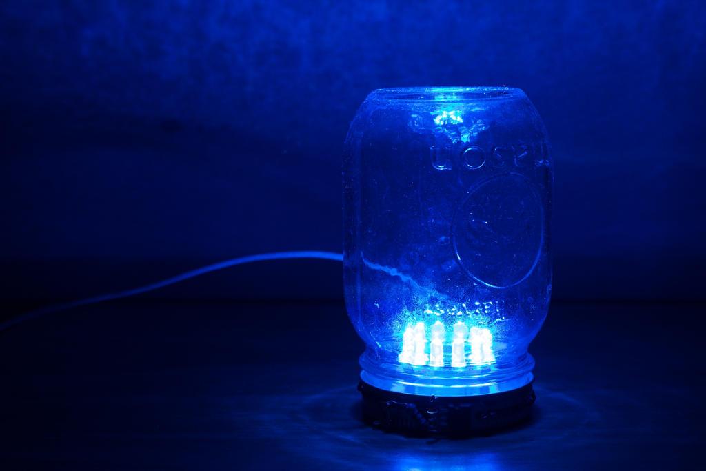 Blue LED Mason Jar Ambience Lamp