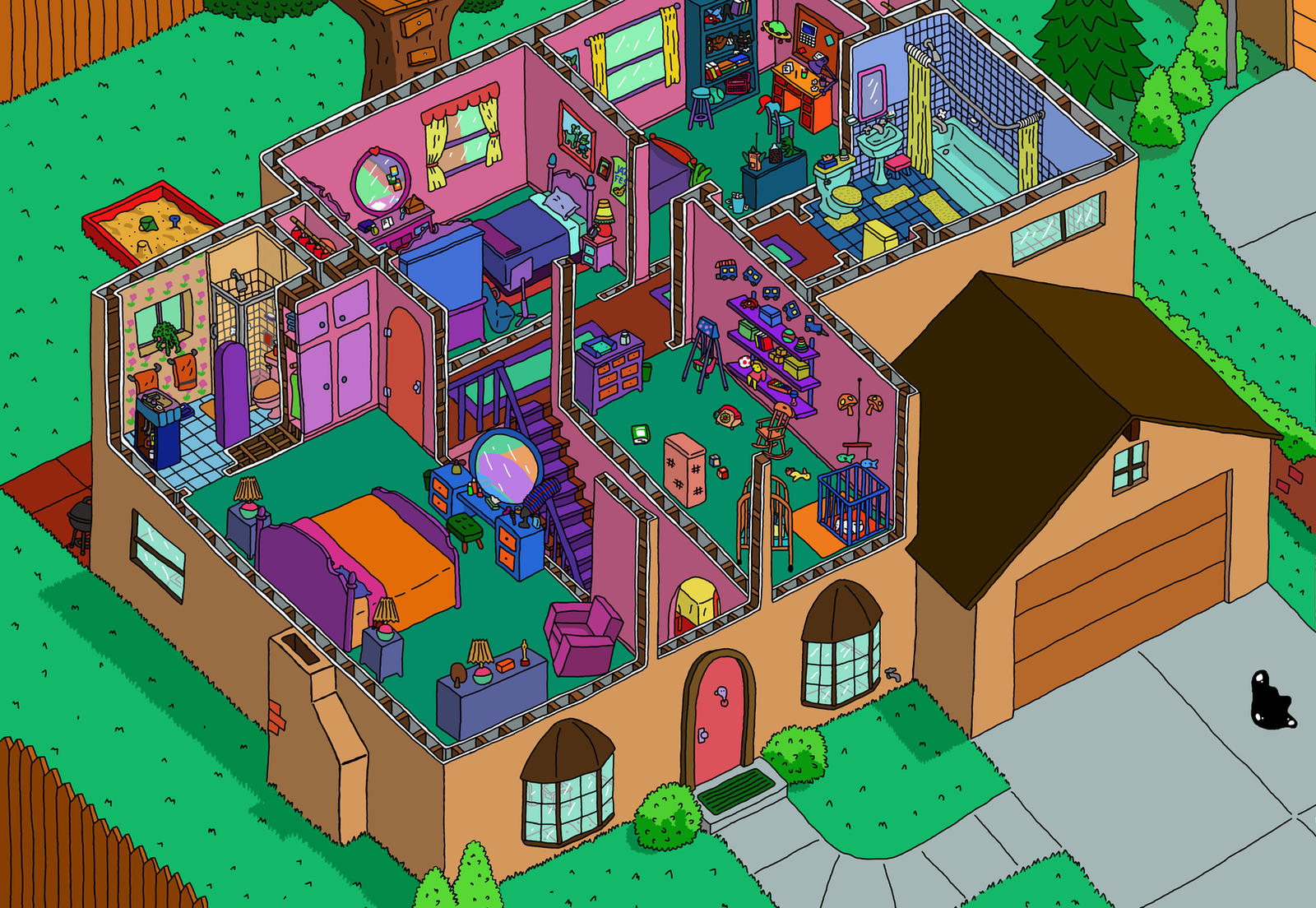 how to draw the simpsons house