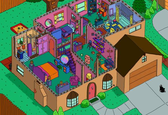 Simpson's House Cutaway Second Floor