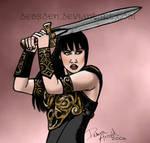 Xena wields her sword